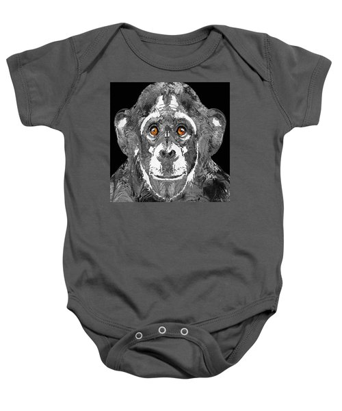 Black And White Art - Monkey Business 2 - By Sharon Cummings Baby Onesie by Sharon Cummings