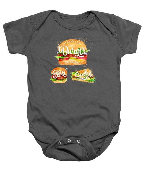 Black Burger Baby Onesie by Aloke Design