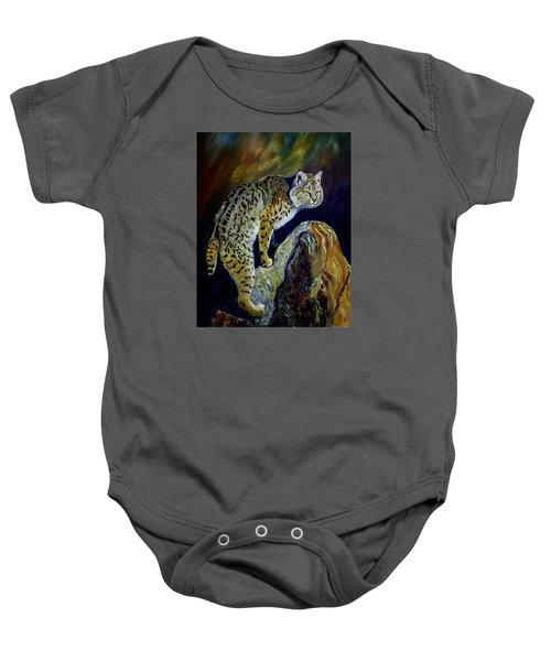 Bobcat At Sunset Original Oil Painting 16x20x1 Inch On Gallery Canvas Baby Onesie by Manuel Lopez