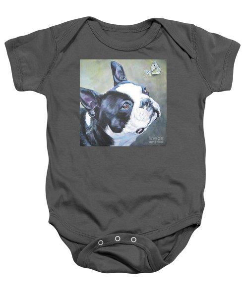 boston Terrier butterfly Baby Onesie by Lee Ann Shepard