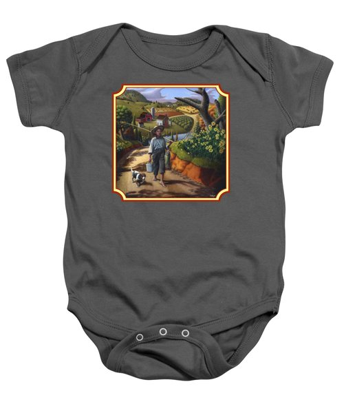 Boy And Dog Country Farm Life Landscape - Square Format Baby Onesie by Walt Curlee