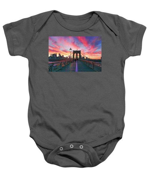 Brooklyn Sunset Baby Onesie by Rick Berk