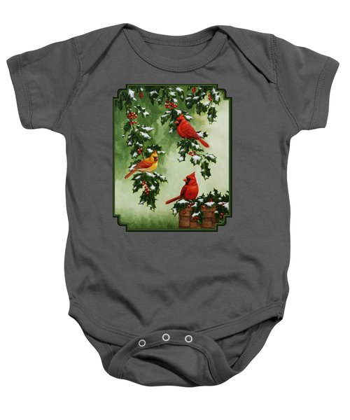 Cardinals And Holly - Version With Snow Baby Onesie by Crista Forest