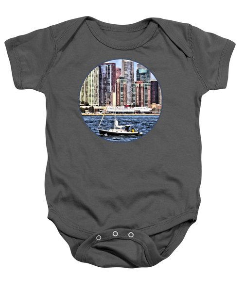 Chicago Il - Sailing On Lake Michigan Baby Onesie by Susan Savad