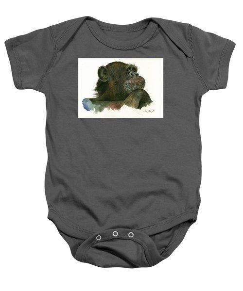 Chimp Portrait Baby Onesie by Juan Bosco