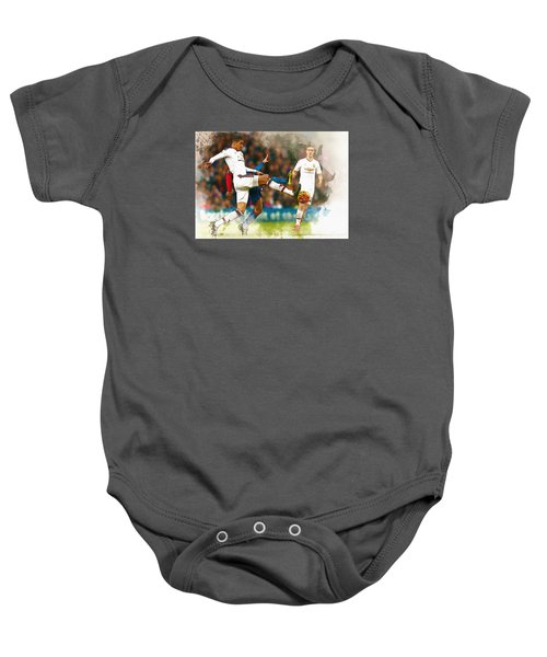 Chris Smalling  In Action  Baby Onesie by Don Kuing