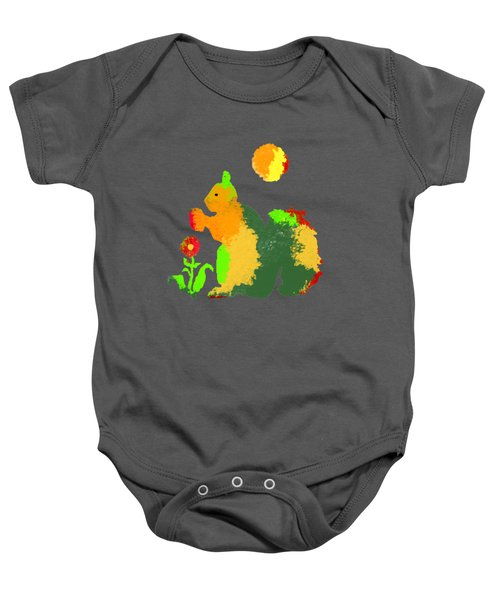 Colorful Squirrel 1 Baby Onesie by Holly McGee