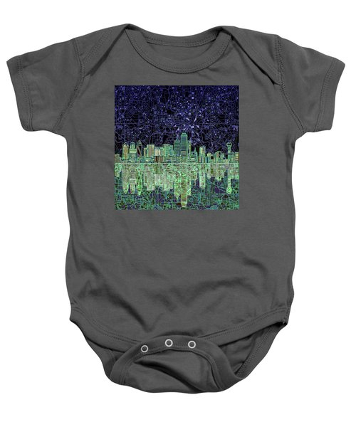 Dallas Skyline Abstract 4 Baby Onesie by Bekim Art