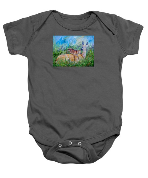 Deer Mom And Babe 24x18x1 Oil On Gallery Canvas Baby Onesie by Manuel Lopez