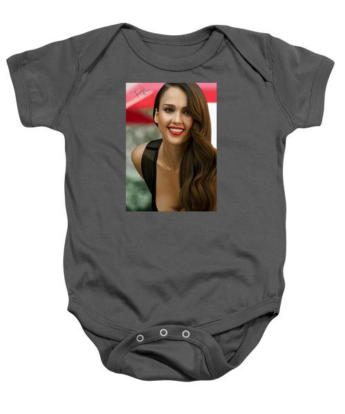 Digital Painting Of Jessica Alba Baby Onesie by Frohlich Regian