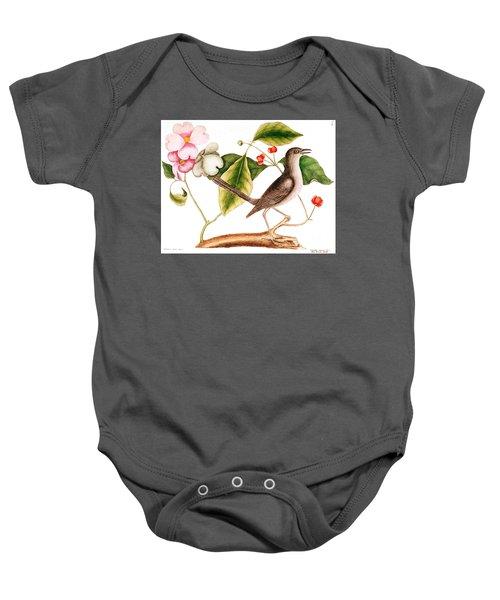 Dogwood  Cornus Florida, And Mocking Bird  Baby Onesie by Mark Catesby