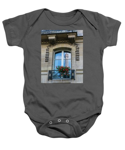 Eiffel Tower Paris Apartment Reflection Baby Onesie by Mike Reid