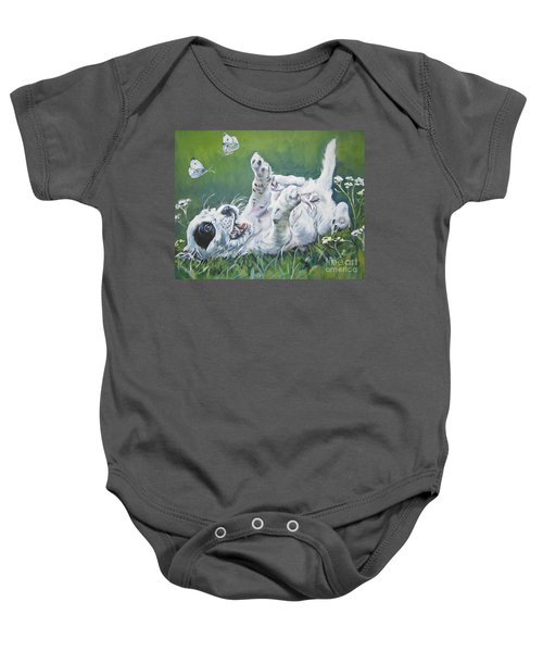 English Setter Puppy And Butterflies Baby Onesie by Lee Ann Shepard