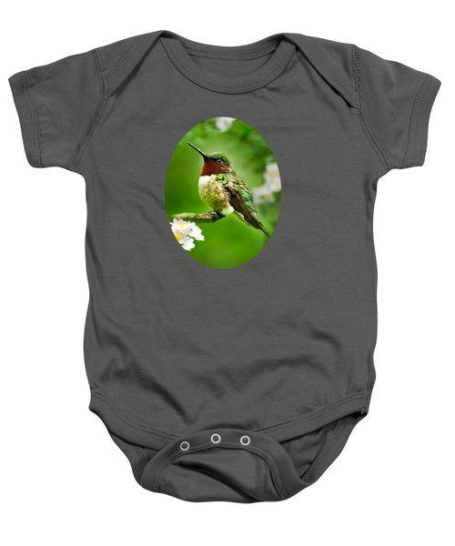Fauna And Flora - Hummingbird With Flowers Baby Onesie by Christina Rollo