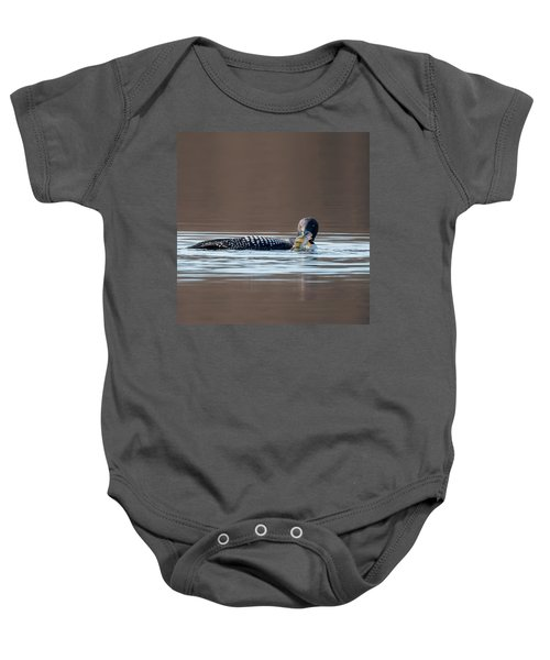 Feeding Common Loon Square Baby Onesie by Bill Wakeley