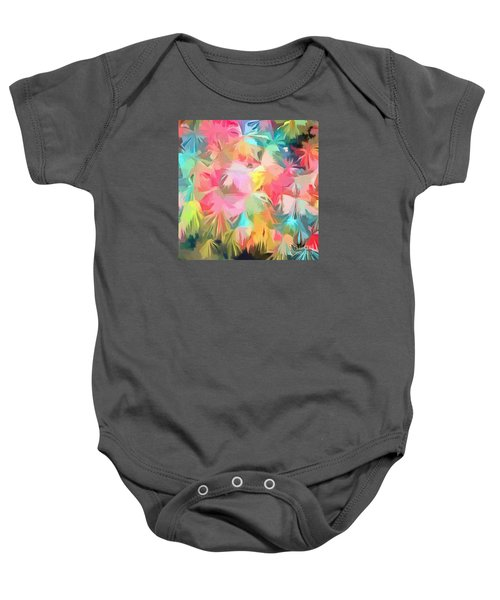 Fireworks Floral Abstract Square Baby Onesie by Edward Fielding