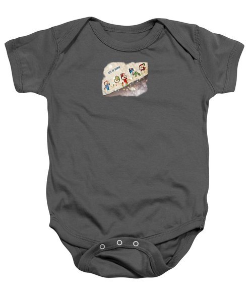 Five Snowmen Cute Colorful Photo-painting Transparent Let It Snow Text Baby Onesie by Shelly Weingart