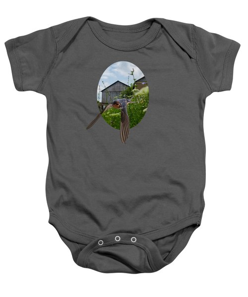 Flying Through The Farm Baby Onesie by Jan M Holden