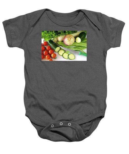 Fresh Vegetables Baby Onesie by Carlos Caetano