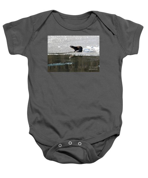Frosty River Otter  Baby Onesie by Mike Dawson