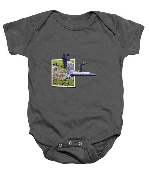 Great Blue Heron Takes Flight Baby Onesie by Roger Wedegis