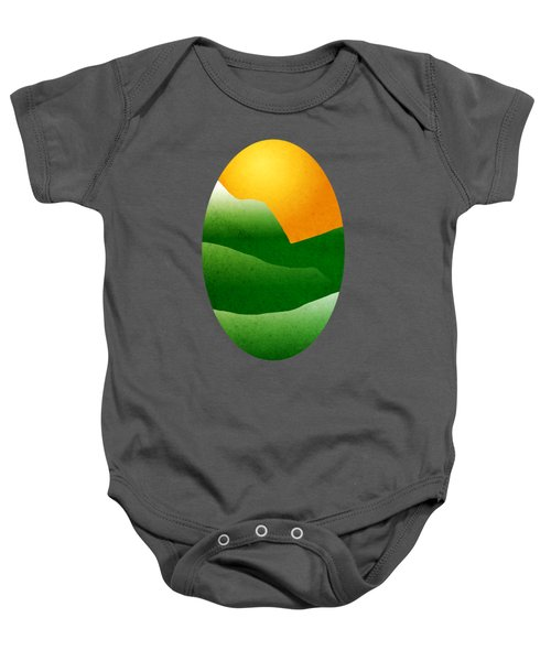 Green Mountain Sunrise Landscape Art Baby Onesie by Christina Rollo
