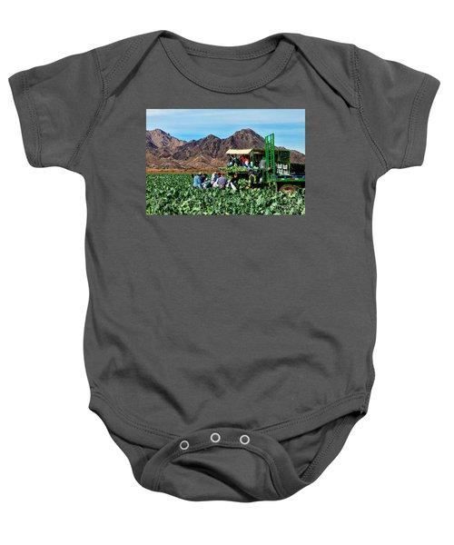 Harvesting Broccoli Baby Onesie by Robert Bales
