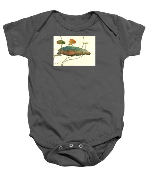 Hippo Swimming With Water Lilies Baby Onesie by Juan  Bosco