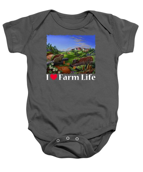 I Love Farm Life T Shirt - Spring Groundhog - Country Farm Landscape 2 Baby Onesie by Walt Curlee