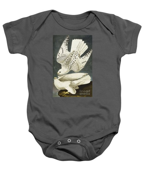 Iceland Or Jer Falcon Baby Onesie by John James Audubon