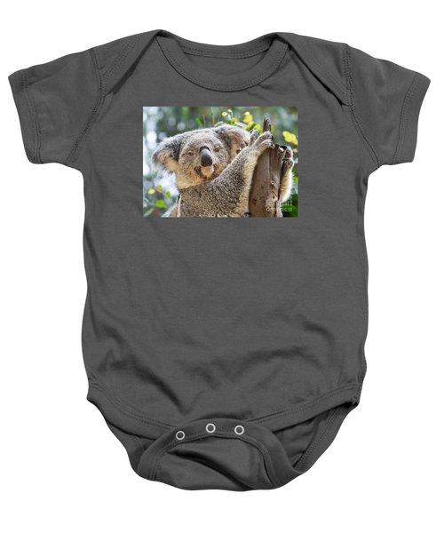 Koala On Tree Baby Onesie by Jamie Pham