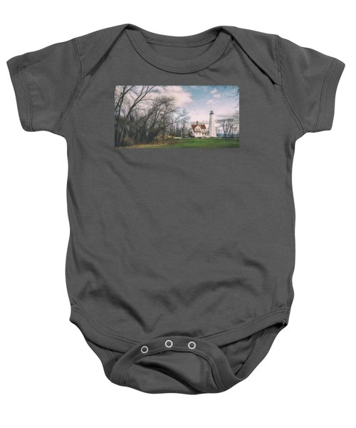 Late Afternoon At The Lighthouse Baby Onesie by Scott Norris