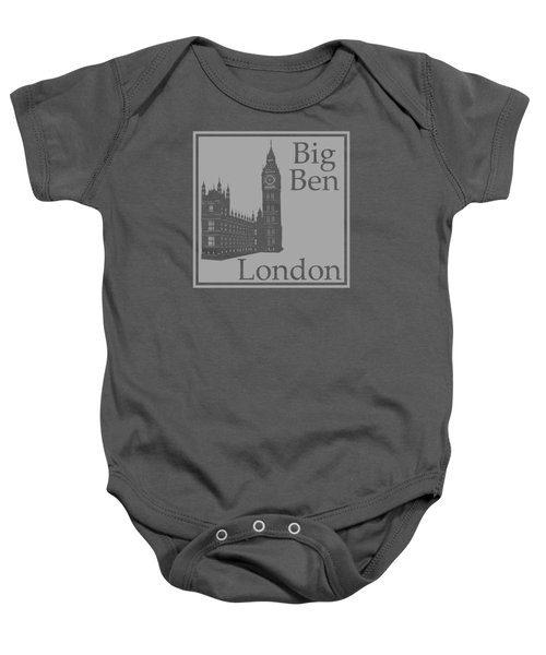 London's Big Ben In Gray Baby Onesie by Custom Home Fashions