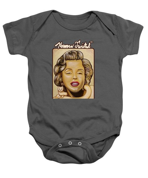 Marilyn In Gold Nt Baby Onesie by Norman Twisted