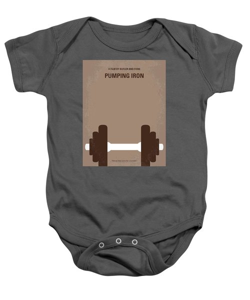 No707 My Pumping Iron Minimal Movie Poster Baby Onesie by Chungkong Art