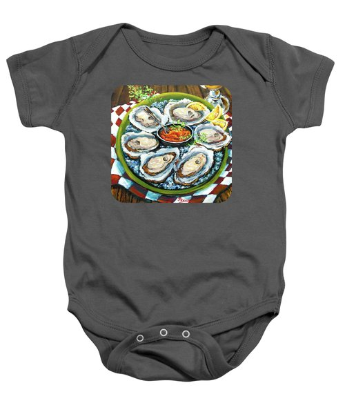 Oysters On The Half Shell Baby Onesie by Dianne Parks