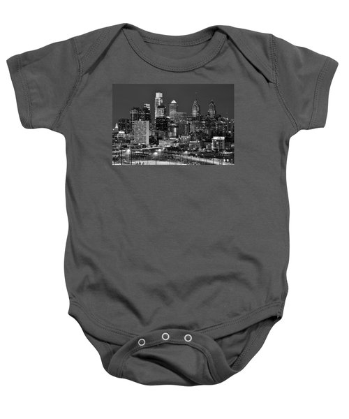 Philadelphia Skyline At Night Black And White Bw  Baby Onesie by Jon Holiday