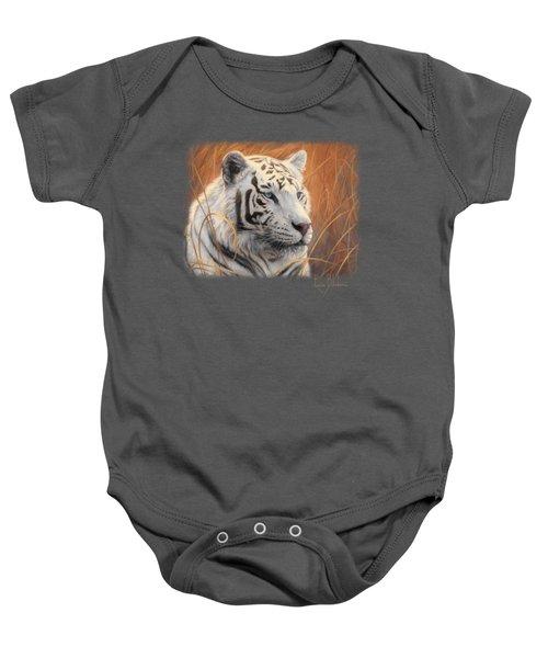Portrait White Tiger 2 Baby Onesie by Lucie Bilodeau