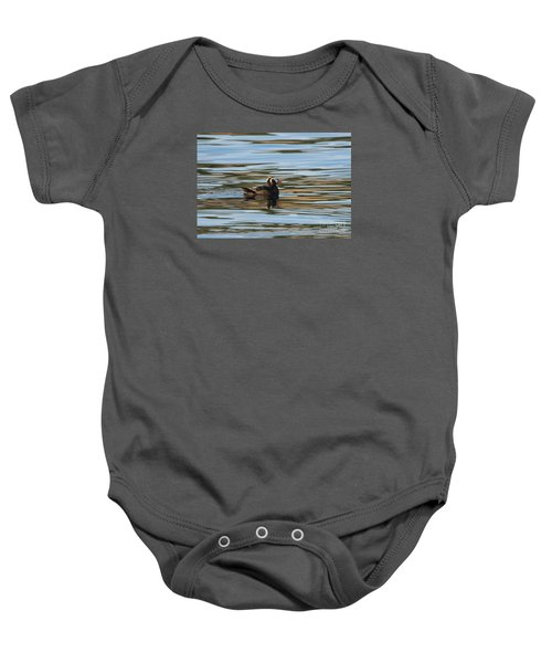 Puffin Reflected Baby Onesie by Mike Dawson