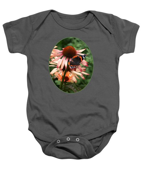 Red Admiral On Coneflower Baby Onesie by Gill Billington