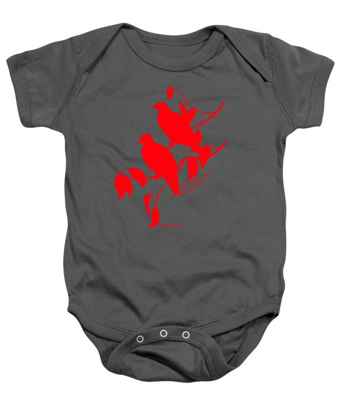 Red Doves Baby Onesie by The one eyed Raven