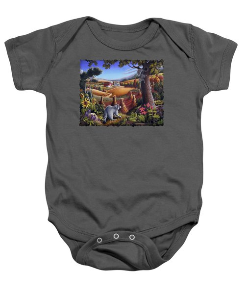 Rural Country Farm Life Landscape Folk Art Raccoon Squirrel Rustic Americana Scene  Baby Onesie by Walt Curlee