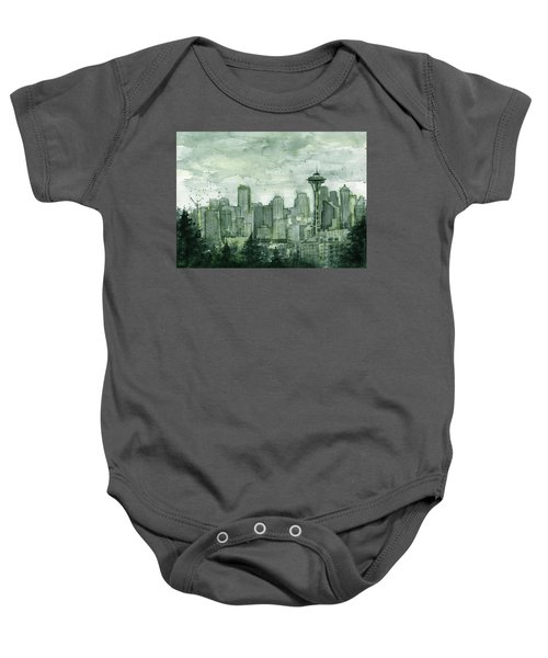Seattle Skyline Watercolor Space Needle Baby Onesie by Olga Shvartsur