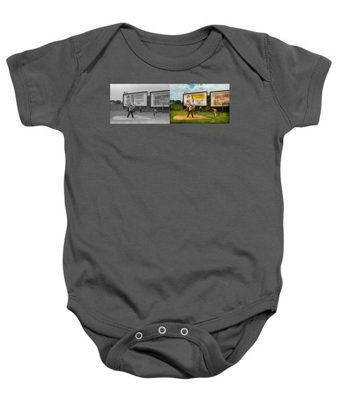 Sport - Baseball - America's Past Time 1943 - Side By Side Baby Onesie by Mike Savad