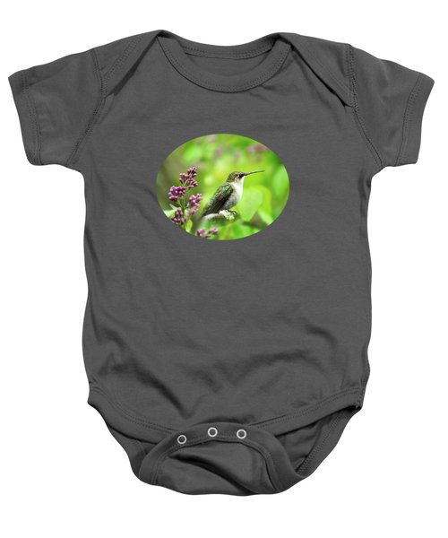 Spring Beauty Ruby Throat Hummingbird Baby Onesie by Christina Rollo