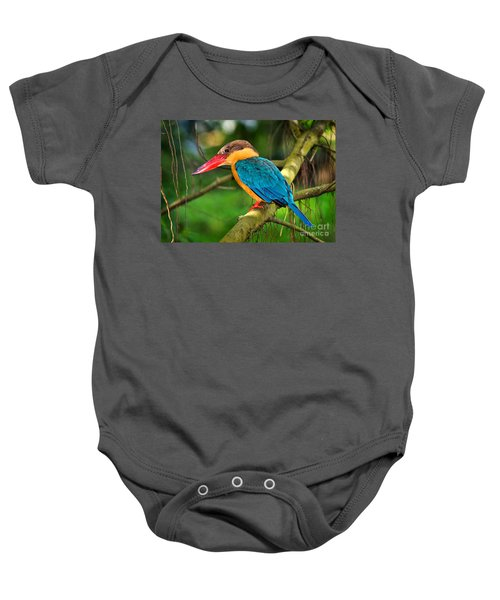 Stork-billed Kingfisher Baby Onesie by Louise Heusinkveld
