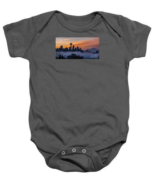 Sunrise Seattle Skyline Above The Fog Baby Onesie by Mike Reid