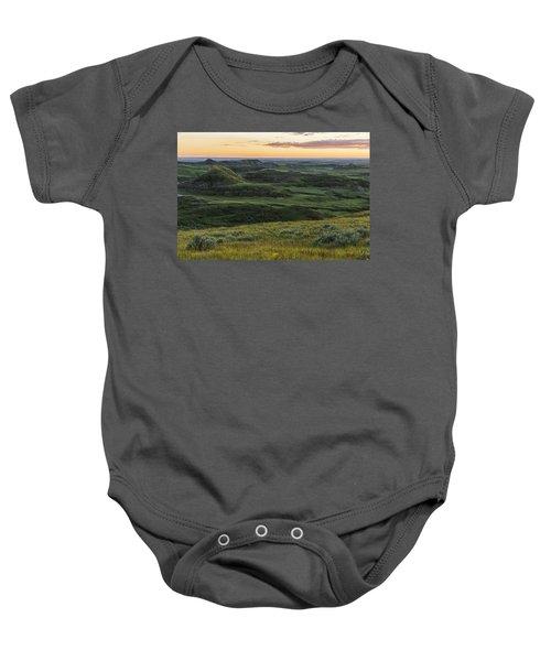 Sunset Over Killdeer Badlands Baby Onesie by Robert Postma