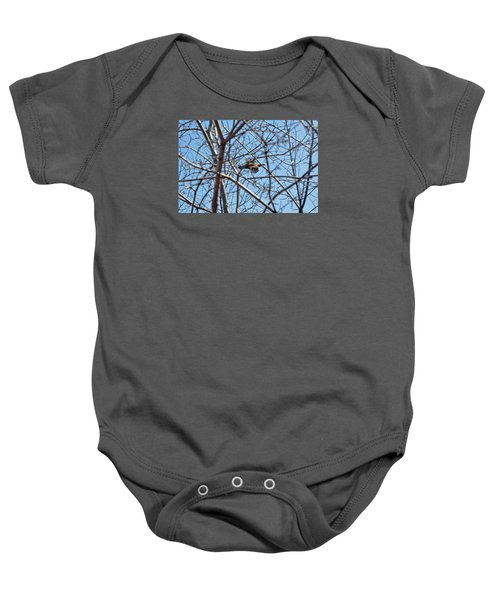The Ruffed Grouse Flying Through Trees And Branches Baby Onesie by Asbed Iskedjian