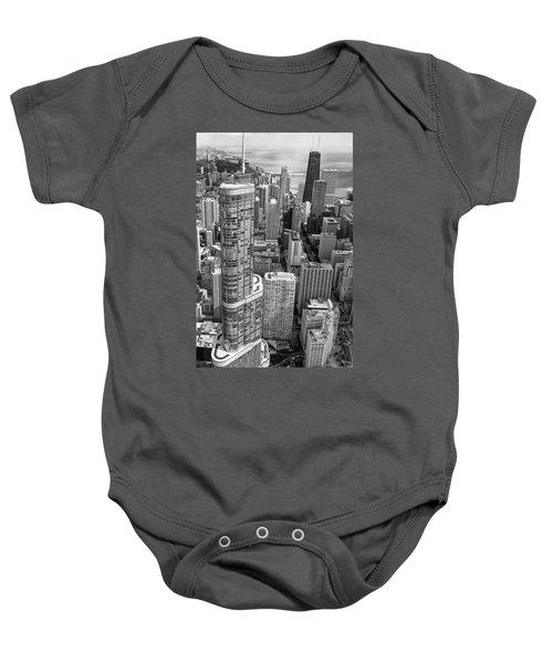 Trump Tower And John Hancock Aerial Black And White Baby Onesie by Adam Romanowicz